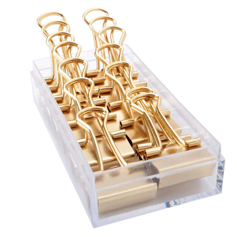 Gold Binder Clips Dovetail Metal Clip Storage Products Metal Binder Clip