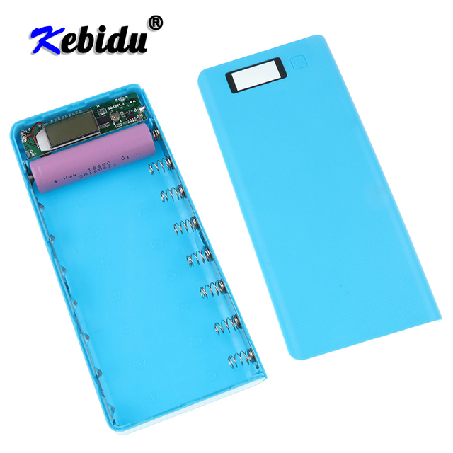 Kebidu Novo Multi cor 8*18650 Caixa de Bateria Shell Banco de Potência De Lítio ion Portátil Display LCD Externo caixa Sem Bateria
