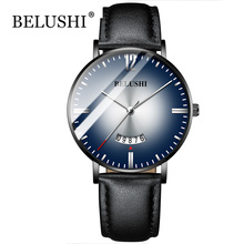 2019 Top Brand Belushi Watches Gradient color Mens Waterproof Watches Leather Strap Slim Quartz Casual Business Mens Wrist Watch