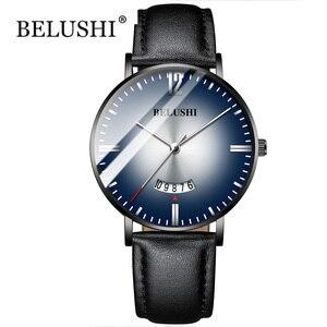 Image 1 - 2019 marca superior belushi relógios gradiente cor dos homens à prova dwaterproof água relógios pulseira de couro fino quartzo casual negócios relógio de pulso