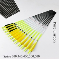 6pcs ID6.2mm Pure Carbon Arrows 5'' Turkey Fletcher Compound Bow Archery Hunting Shooting Accessorie