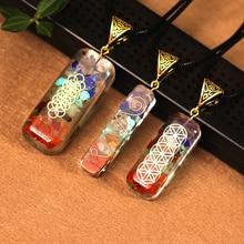 1PC Natural Orgone Energy Pendant Necklace, Men And Women Restoring Ancient Reiki Resin Seven Vein Orgone Crystal Necklace