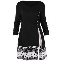 Mooie Plus Size Herfst Vrouwen Shirts Lange Mouwen Patchwork T-Shirt Casual Vrouwelijke Lange Tops Tee