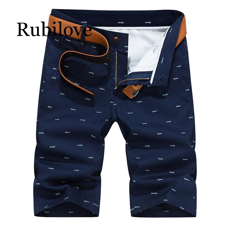 Rubilove Men Shorts Summer Fashion Solid Color Casual Male Shorts Bermuda Knee Length Plus Size 28-40 Straight