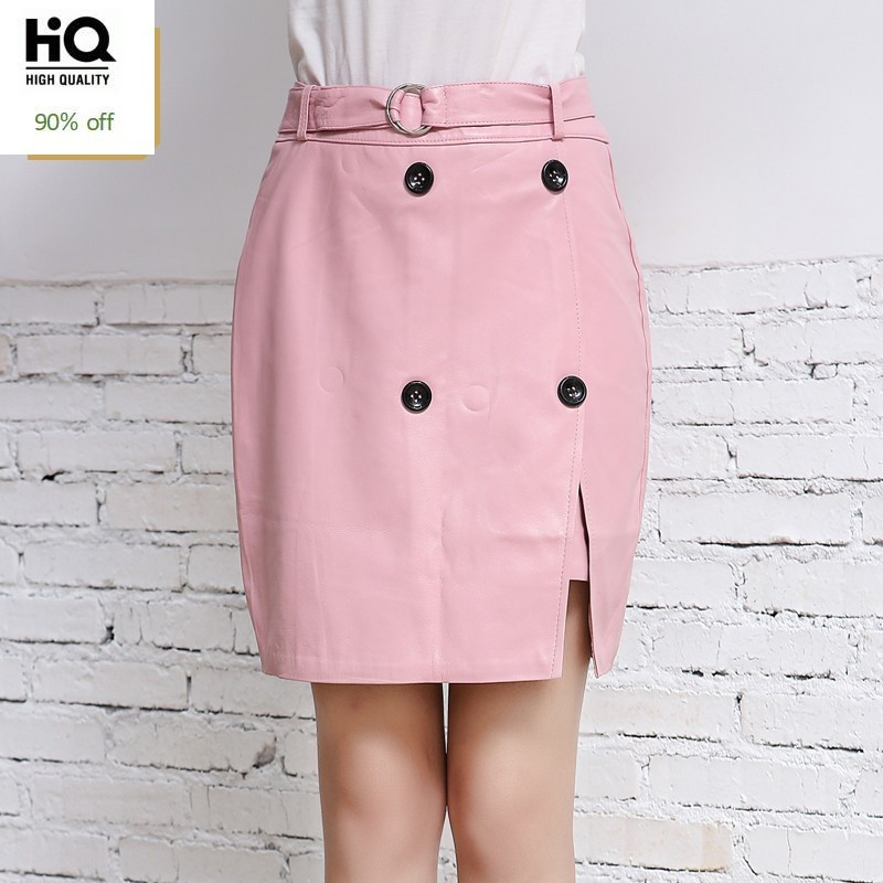 Spring New Pink Office Ladies Sheepskin Real Leather Skirt Women Casual Buttons Slim Fit High Waist Wrap Skirt Green Jupe Femme