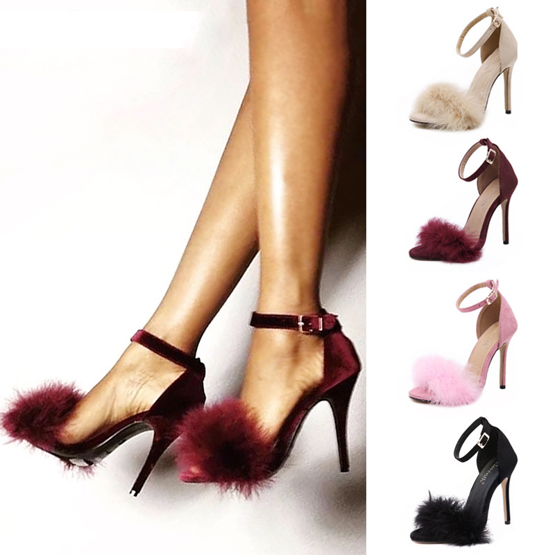 2020 Brand Women Fur Sandals Summer Shoes Strappy High Heels Peep Toes Buckle Strap Sexy Party Weddi