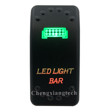 12V 24V,ปิด,สีเขียว & ลงสีแดง Led Backlit  Led Light Bar เลเซอร์ Rocker สำหรับรถเรือรถบรรทุก push Switch