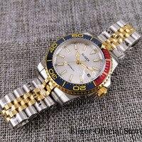 BLIGER New Gold Coated Automatic Men Watch Sapphire Glass MIYOTA Movement Jubilee Band Rotaing Bezel