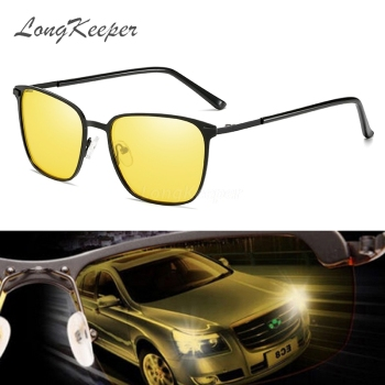 LongKeeper Car Polarizer Men's Night Vision Sunglasses Women UV400 Polarized Driving Sun Glasses Yellow Lens Anti-glare Okulary sunglasses driving night vision lens sun glasses male anti uva uvb for men women with case