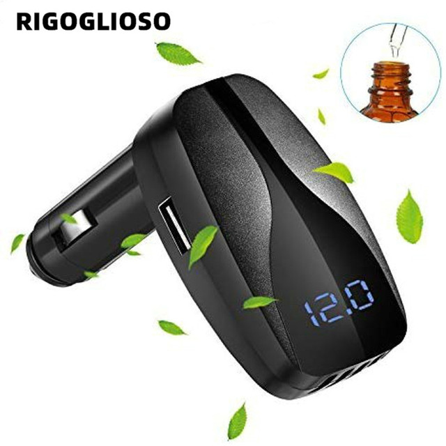 $ US $20.64 RIGOGLIOSO multi-function folding car air purifier 2.1A USB fast charging mouth aromatherapy negative ion generator odor cleaner