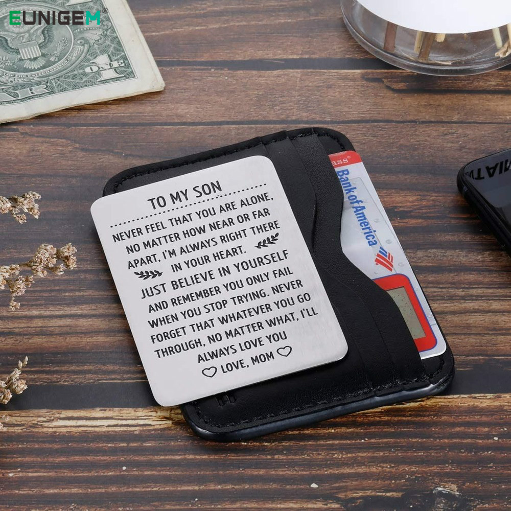 To My Son Wallet Card Birthday Gifts for Men Son From Mom Step Mother Sweet 16th Birthday Love Note Gift for Him Adult Men Boys