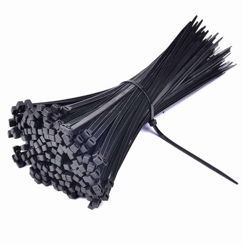 Cable de nailon de plástico con bloqueo automático con cierre de cremallera 100 Uds bridas negras para Cable de bucle de fijación varias especificaciones