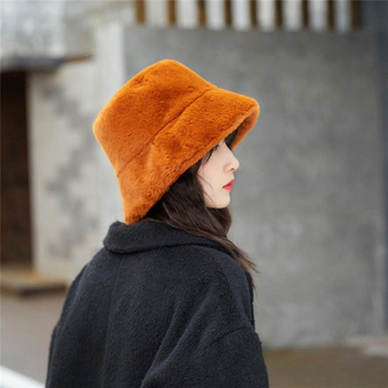New Fashion Women Winter Cap Plush Hat Keep Warm Relaxed Breathable Soft Windproof Bucket Hat Outdoor Vacation Fur Hat For Girl fashion wifi signal pattern bucket hat for men