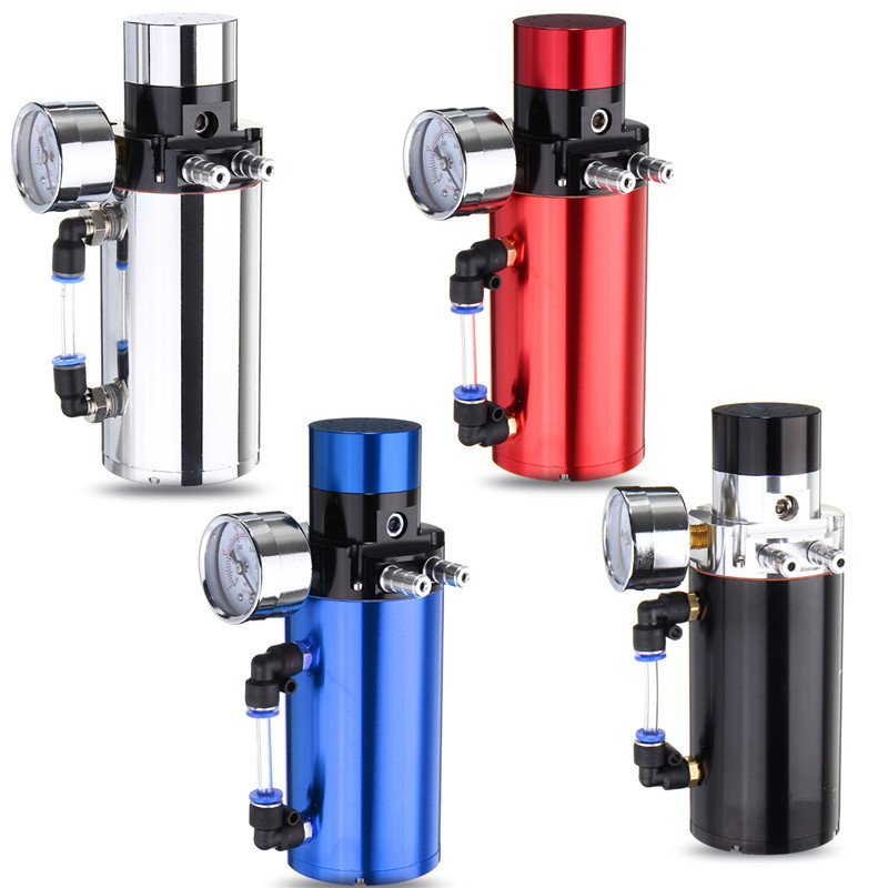 NEW 4 Colors Universal Aluminum Engine Oil Catch Reservoir Breather Tank Can With Vacuum Pressure Gauge Oil Catch Tank Can