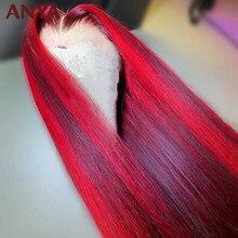 Anya destaque vermelho peruca frontal do laço pré arrancadas em linha reta peruca de cabelo humano laço transparente peruano remy cabelo para preto