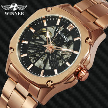 WINNER Official Vintage Automatic Watch Men Skeleton Mechanical Mens Watches Top Brand Luxury Rose Golden Classic Dress Clock winner classic design transparent case golden movement inside skeleton wrist watch men watches top brand luxury mechanical watch
