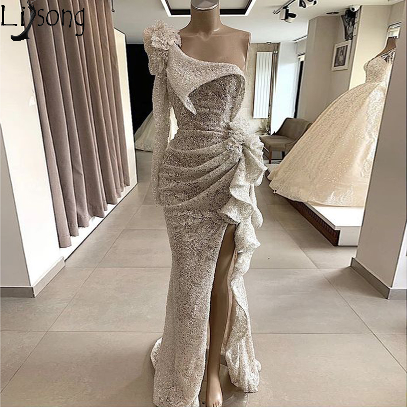 2020 Couture Sequins Lace Mermaid Evening Dress Long Sleeves One Shoulder High Split Ruffled Formal Prom Dresses Chic Party Gown