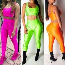 Goocheer New Women Sport Gym Yoga 2Pcs Vest Bra Sports Legging Pants Outfit Wear Set Fitness Suit Workout 2 pcs Sets
