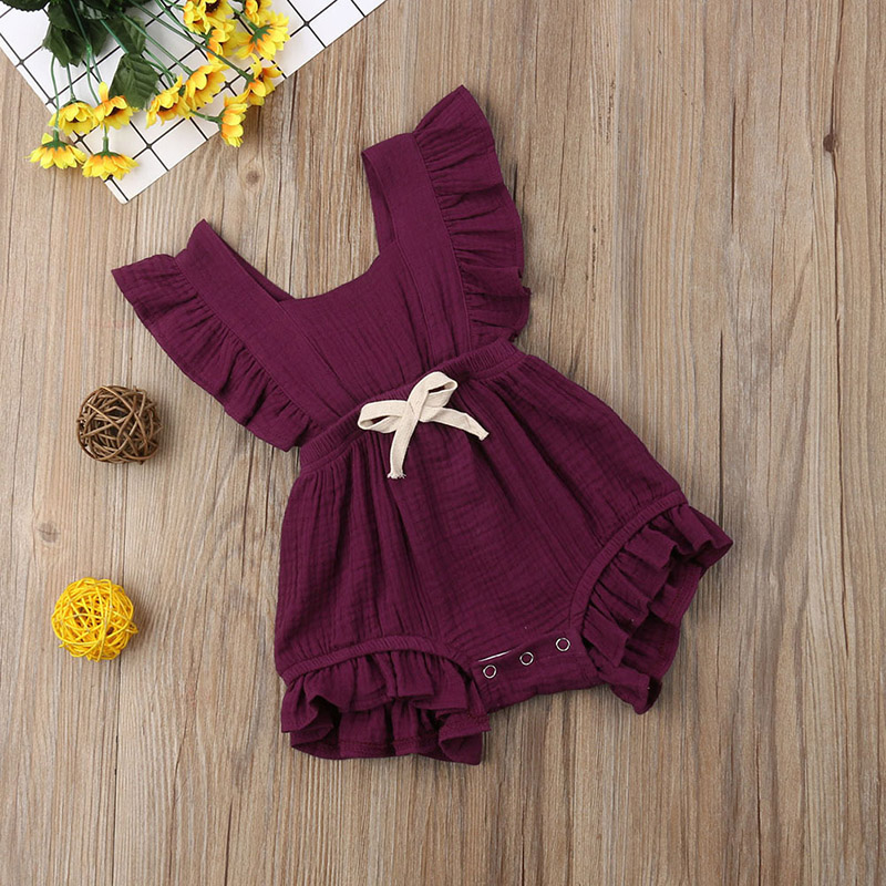 Summer Outfits for Baby Girl Ruffled Sleeveless Jumpsuits Lotus Leaf Edge Jumpsuit Newborn Infant Sunsuit Outfits