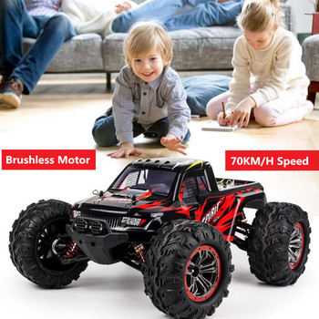 70KM/H High Speed 2.4G 1/10 4WD Brushless Motor Vehicle Models Car Buggy off load Climbing RC Truck Toy with 3pcs battery gift image