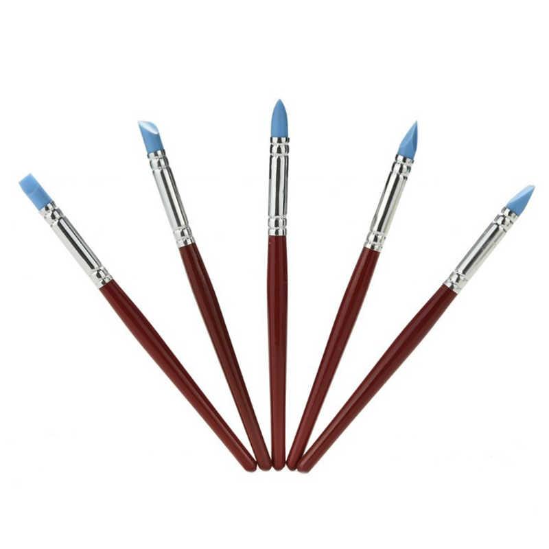 5 sztuk drewna uchwyt rzemiosło artystyczne gliny narzędzia garncarskie modelowanie rzeźbienie narzędzia do rzeźbienia pióro silikonowe pióro do modelowania masy cukrowej szczotka