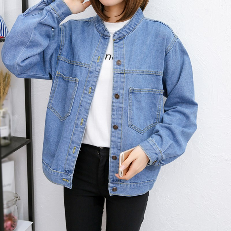 New Long Sleeve Denim   Jackets   2019 Spring Loose Cotton Outerwear Pockets Women Bomber Female Casual   Basic     Jacket   Coat