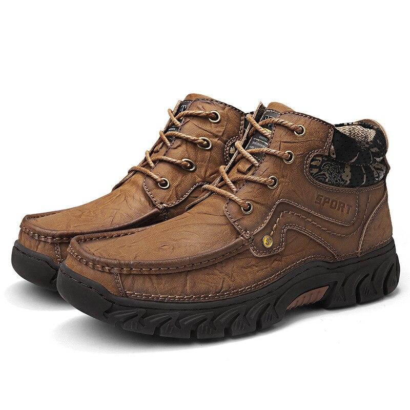 Рабочие ботинки; Мужская Уличная обувь из коровьей кожи; мужские резиновые ботильоны; высококачественные зимние кроссовки; мужская обувь н...