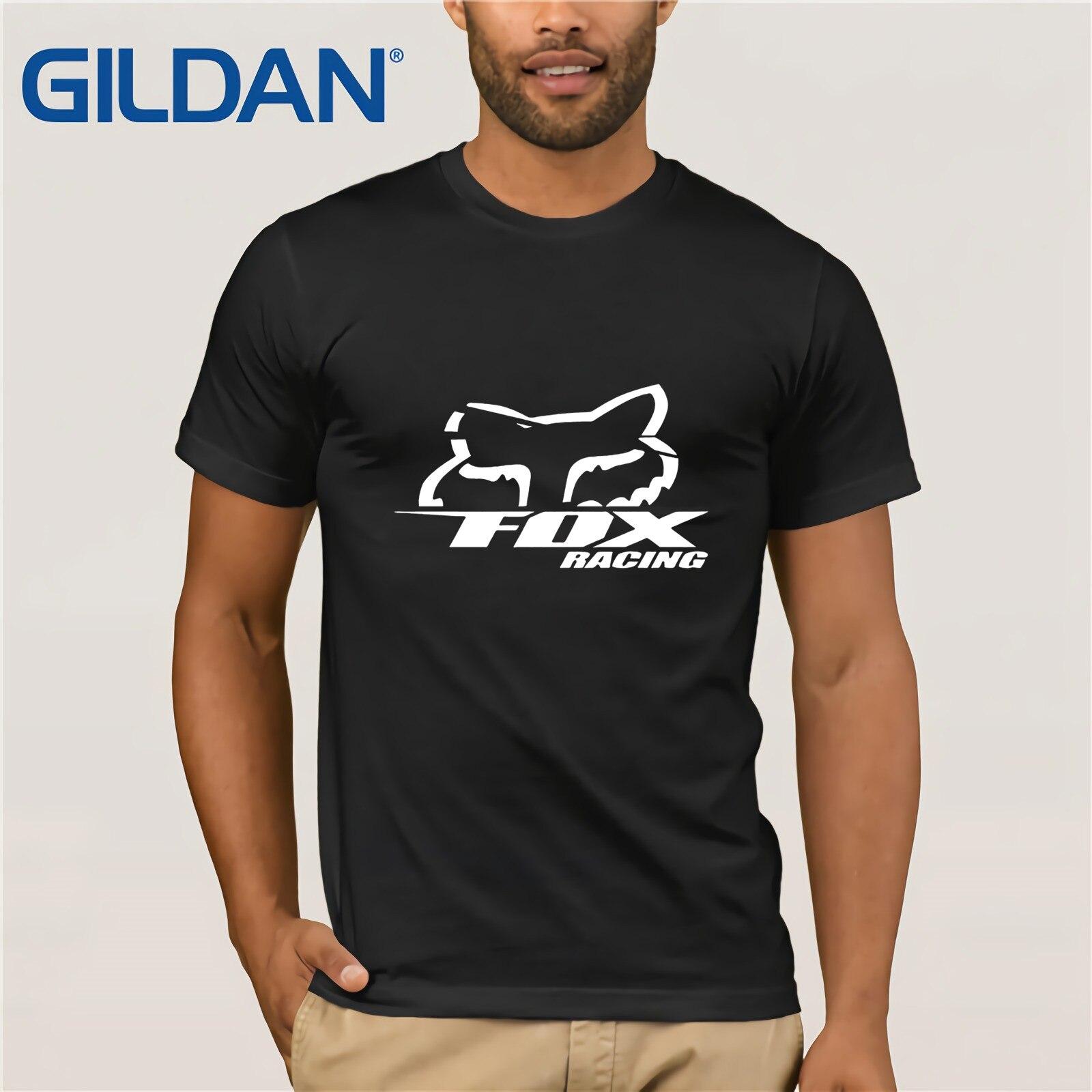 Fox Logo Racinger Black Men's T-Shirt Tee Clothes Popular T-Shirt Crewneck 100% Cotton Tees Funny Tees Cotton Tops T Shirt