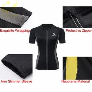 Image 3 - Lazawg Hot Zweet Gewichtsverlies Shirt Neopreen Body Shaper Sauna Jas Pak Workout Training Kleding Vet Brander Top Full Zip up