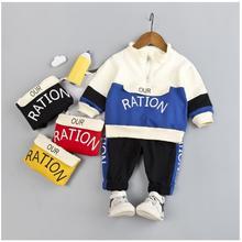 2019 Autumn New Kids Infant Sport Suit Toddler Boys Girls Clothes Set Cotton  Letter Coat Pants Children Tracksuit