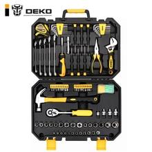 DEKO 128 шт набор ручных инструментов общий бытовой набор ручных инструментов с пластиковым ящиком для инструментов чехол для хранения торцевой ключ Отвертка Нож