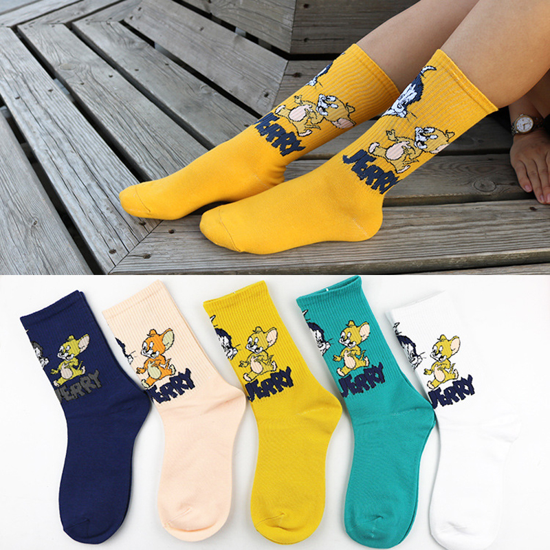 Personality Funny Fashion Cartoon Happy Men Women Sock Novelty High Quality Cat And Mouse Personality Skateboard Couple Sock
