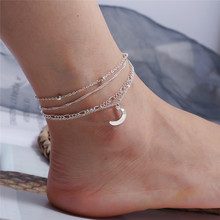 Vintage Silver Color Multi-layer Anklet For Women Bohemian Moon Beads Charm Chain Bracelets 2019 Boho Beach Foot Jewelry