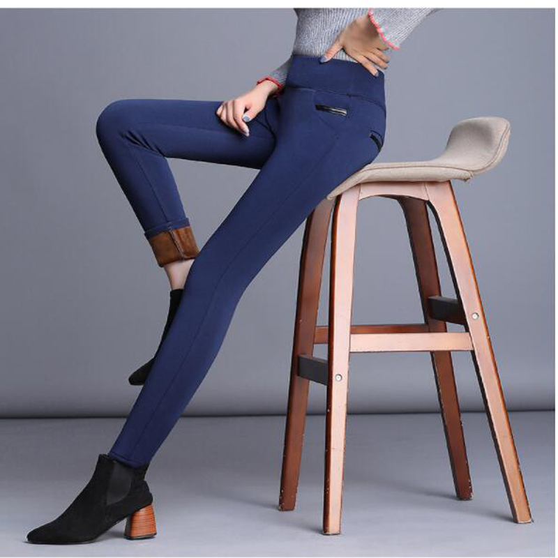 Shikoroleva Lady Pants Winter Warm Fleece High Waist Women Stretch Blue Black Grey <font><b>Pantalon</b></font> Vinilo <font><b>Mujer</b></font> Plus 5XL <font><b>4XL</b></font> Trousers image