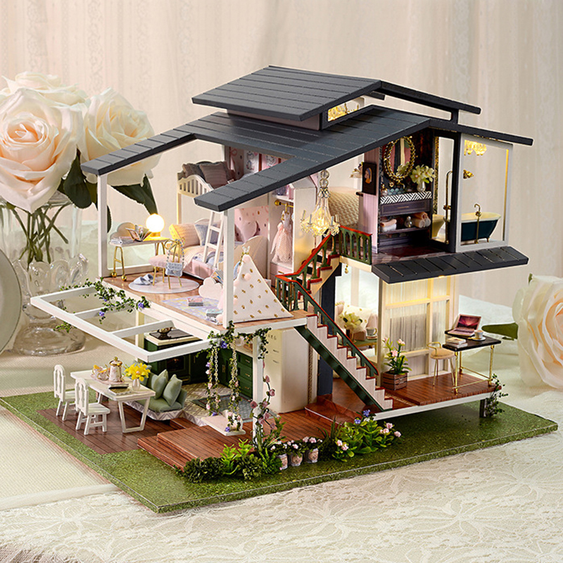 Big Doll House Furniture Miniature Building Kits Diy Dollhouse Kit Roombox Villa Garden Wood Houses Toy For Children Adult Gifts