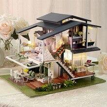 Casa de boneca grande móveis kits de construção em miniatura kit casa de bonecas diy roombox villa jardim casas de madeira brinquedo para crianças presentes adultos