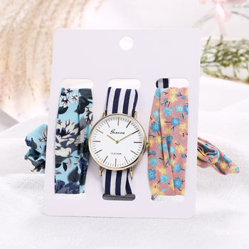 3pcs Hot Fashion Lady Holiday Dress Cotton Silk Gold Silver Clock Watch Ribbon Strap Wrist Watches Sets for Women Relojes Mujer - discount item  15% OFF Women's Watches