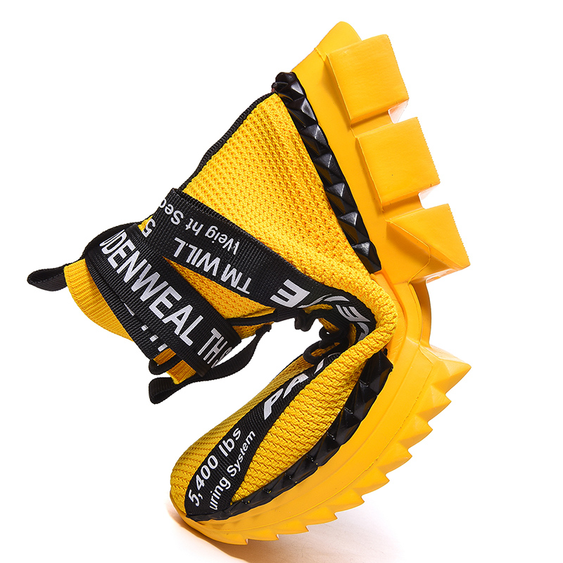 Image 4 - 2019 High Ankle Junior New Cool Walking Sneakers Breathable Spring Trendy Shoes for Boys Yellow Boots Sport Shoes Men Size 39 48Running Shoes   -