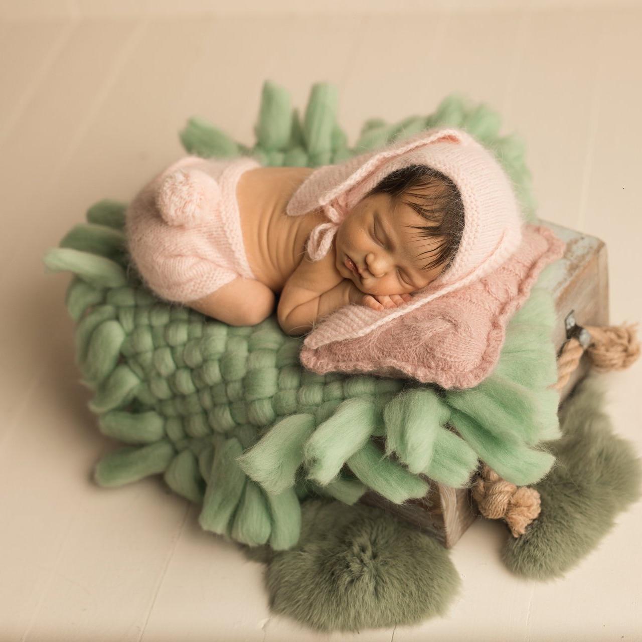 Newborn Photography Props Accessories Crochet Chunky Blanket Newborn Shoot Backdrop Square Blanket 45*45cm Basket Stuffer Filler