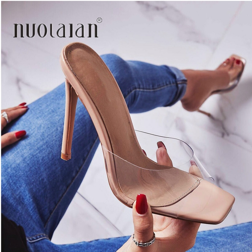 2020 Summer Pumps Sexy PVC Slippers Sandals Shoes Women Thin High Heels Open Toe Sandal Lady Pump Shoes Mules Size 35-42