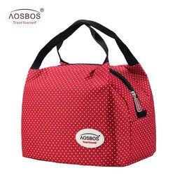 Aosbos الأزياء المحمولة معزول قماش الغداء حقيبة الحرارية الغذاء نزهة الغداء أكياس للنساء الاطفال الرجال برودة حقيبة حفظ الطعام حمل
