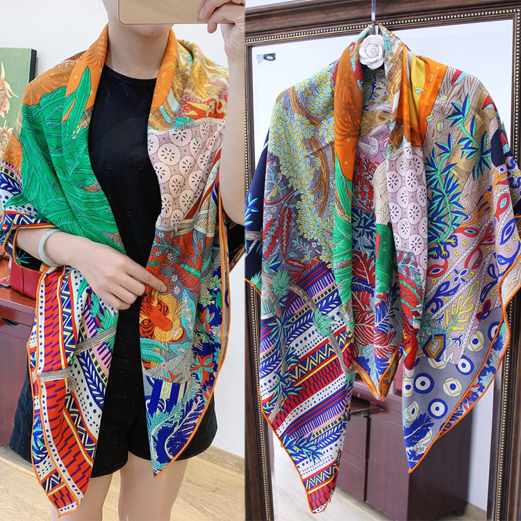 Pure Silk Cashmere 140 Square Scarf Scarves for ladies shawl Sun Printed Pashimina Luxury Brand Design Handrolled Hem image