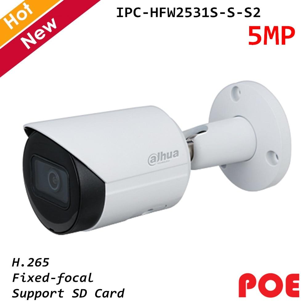 Новая Dahua Poe ip камера 5MP Lite IR с фиксированным фокусным расстоянием, сетевая ip камера H.265, поддержка sd карты IPC HFW2531S S S2|Камеры видеонаблюдения|   - AliExpress