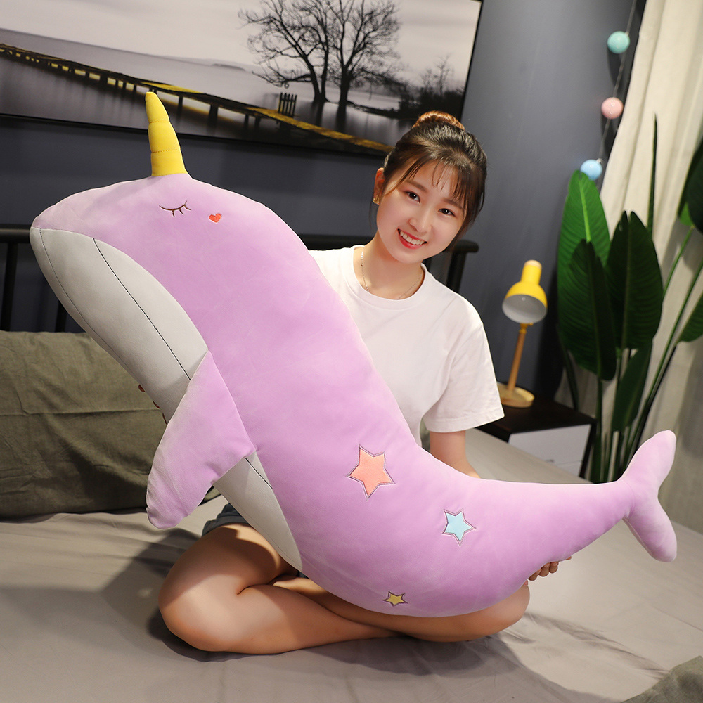 New High Quality Large Narwhal Plush <font><b>Toy</b></font> <font><b>Unicorn</b></font> Plush <font><b>Toy</b></font> Children's <font><b>Toy</b></font> Sofa Pillow <font><b>Girl</b></font> Gift Home Decoration image