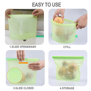 Image 3 - Reusable Silicone Bag Sealing Food Storage Saran Wrap ziplock Vacuum Covers Freezer Bags Kitchen Refrigerator Packing Organizer