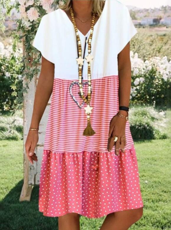 2020 Women's Loose V-neck Short Sleeve Dress Summer Holiday Vacation Casual Beach Dress Cool Printing Dress