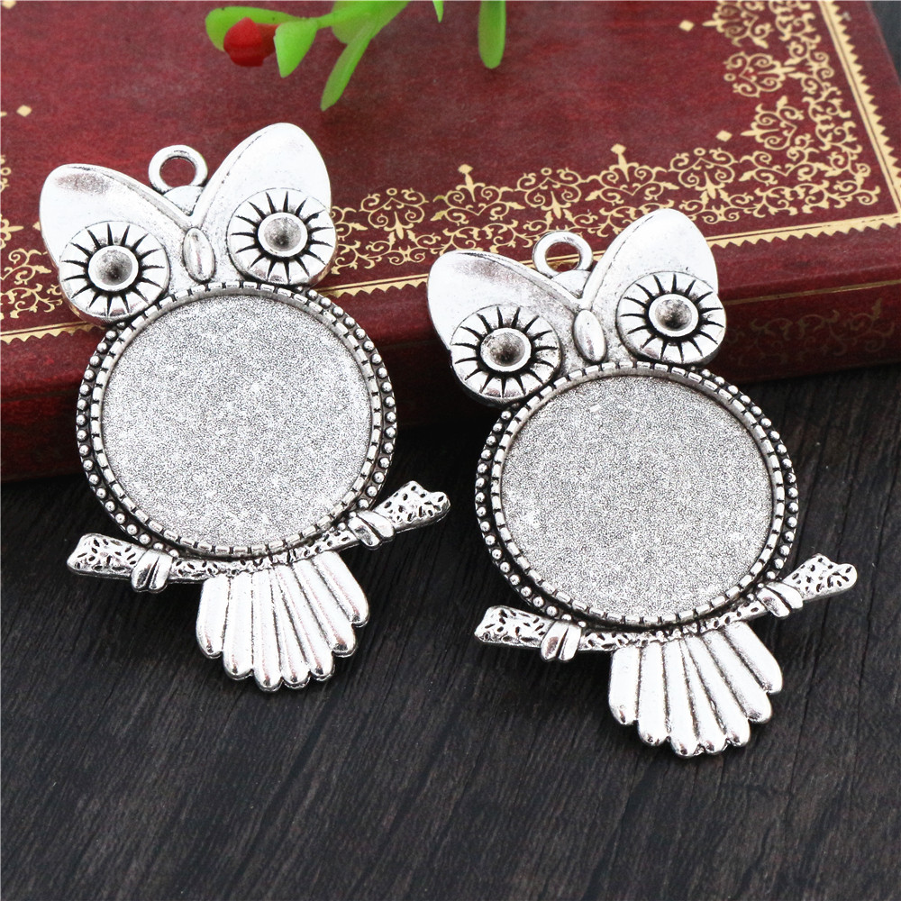 New Fashion  3pcs 25mm Inner Size Antique Silver Plated Owl Cabochon Base Setting Charms  Pendant (A4-30)