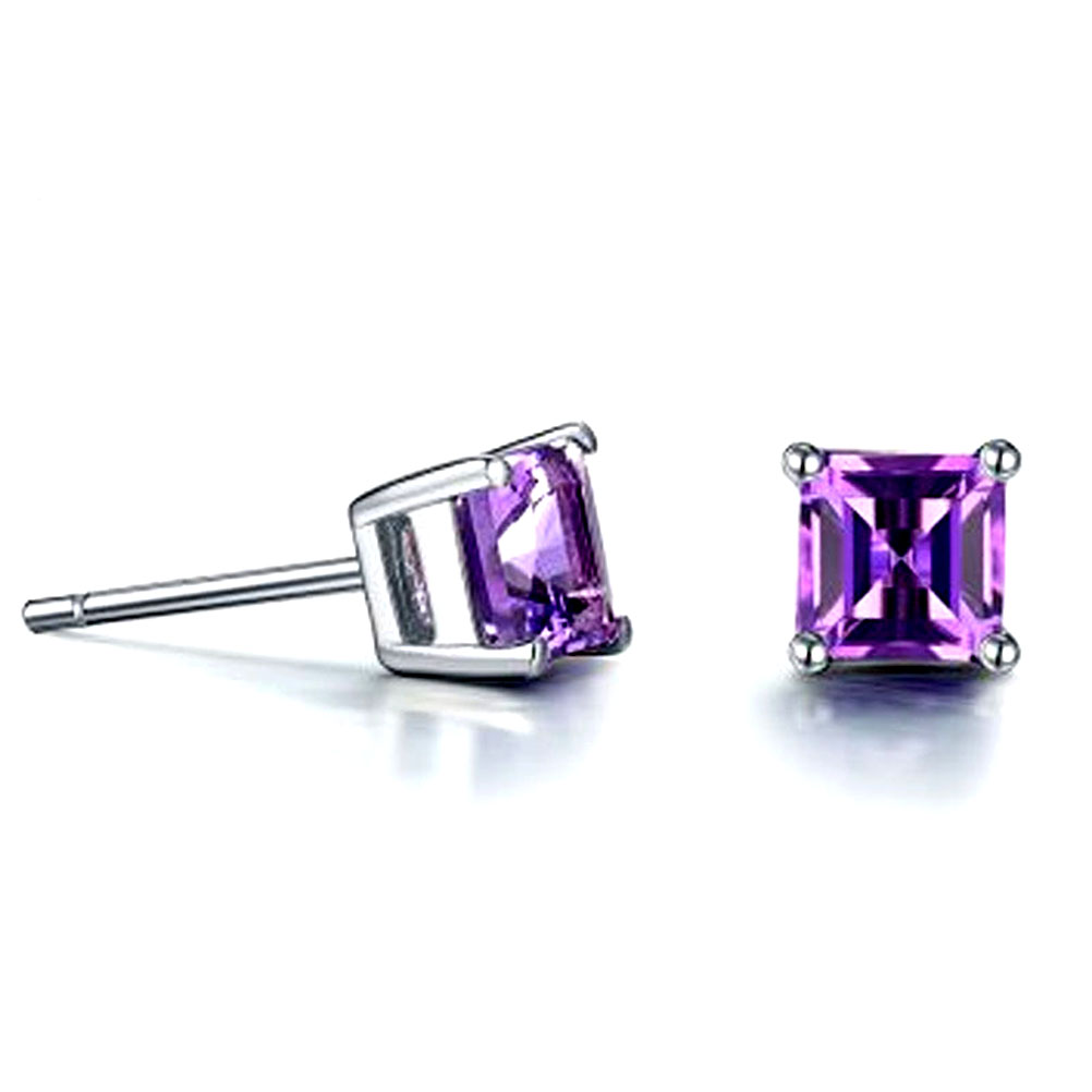 Jade Angel Solid 18K White Gold 18ct White Gold Real Natural Amethyst Princess Cut Purple Stud Earrings Women Fine Jewelry