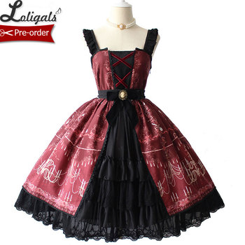Chandelier Printed Gothic Lolita JSK Dress with Split Front Halloween Party Dress by Alice Girl