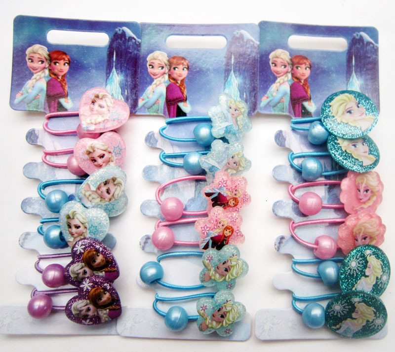 Hot Sale Frozen 2 Hair Rope Rubber Band Glitter Baby Girl Headdress Princess Elsa Clothes Children Kid Hair Accessories Festival
